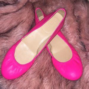 Neon pink ballet slippers